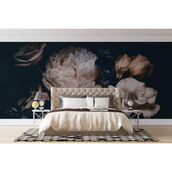 Bedroom--Wallpaper---Flowers---Peony